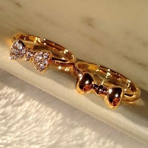 New Pair 18K Gold Plated Stackable Bow Rings